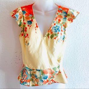Nanette Lenore Silk Floral Crop Top Size 2 Yellow